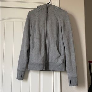Lululemon Light grey scuba zip up hoodie